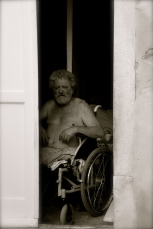 The old man in the wheelchair
