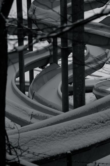 Waterslides in snow