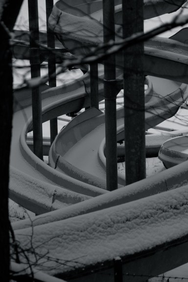 Waterslides in snow