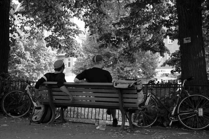 Bicycle couriers having a break.