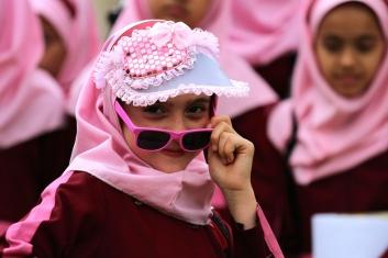 School girl with sunglasses