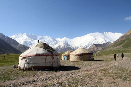 On our way into the mountains we passed this yurt camp